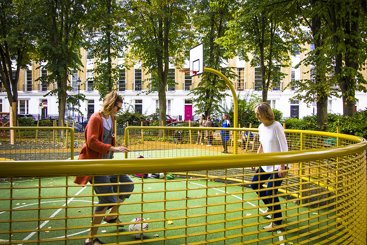 Designing smaller, informal ball games courts encourages inclusive play, and leaves space for a variety of other activities. It also removes the need for tall, unattractive ball fencing.