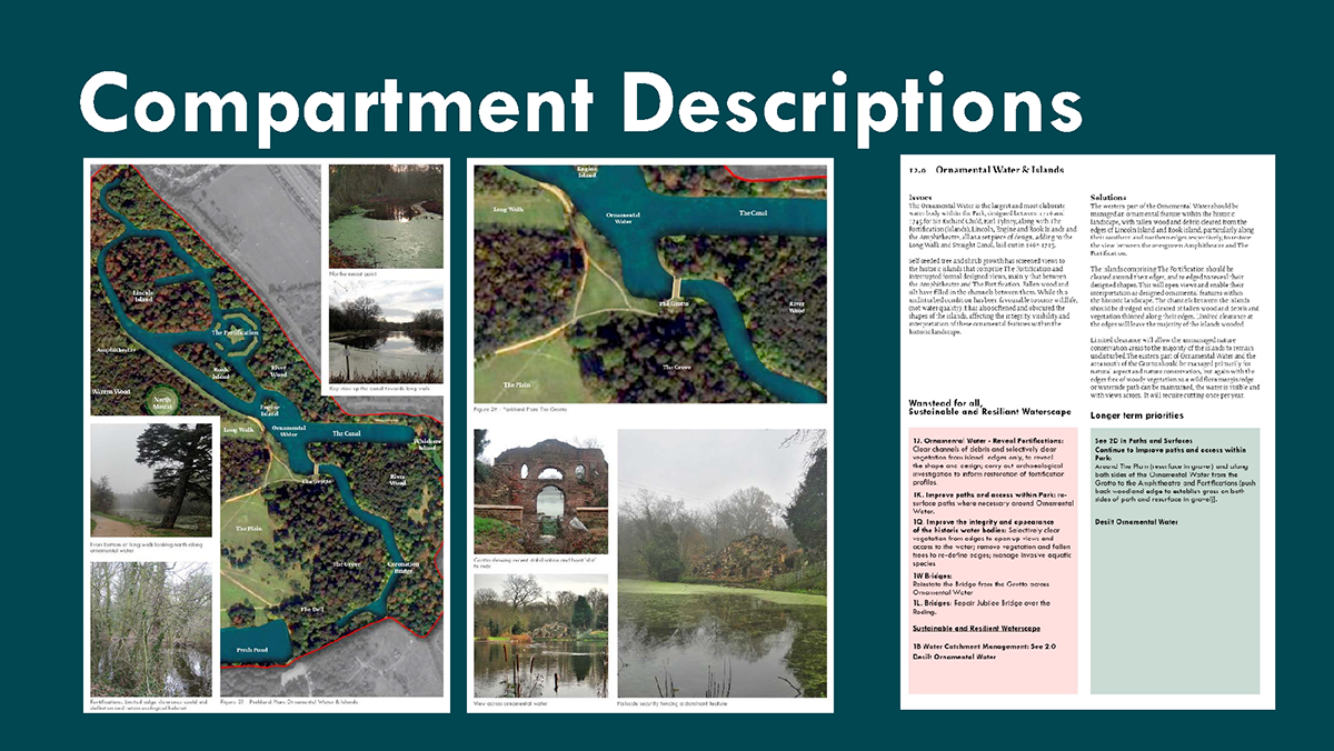 Extracts from the Parkland Plan showing key restoration or management aims and priorities